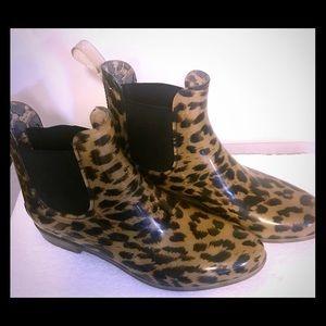 J Crew Leopard Print Rain Boots Size 10